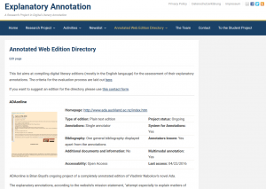 Annotated Web Edition Directory