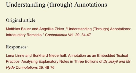 "Special Issue ""Understanding (Through) Annotations"""